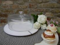Campana vetro e base piatto portadolci B.co