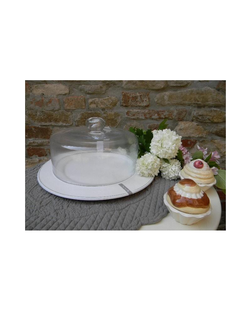 Campana vetro e piatto portadolci B.co