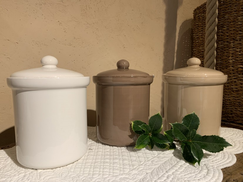 Barattolo ceramica tortora